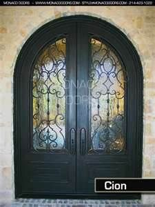 Image Search Results for heavy glass front door. Black double glass and wrought iron front entry doors nice for French country home