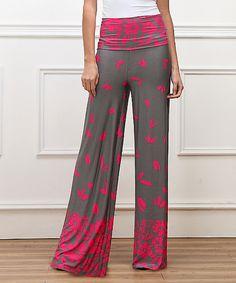 Reborn Collection Pink & Gray Falling Petal High-Waist Palazzo Pants | zulily