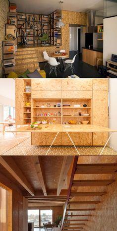 El OSB es un tablero que es tan versátil como lo desees, es usado generalmente en construcción pero puede ser muy decorativo e innovador.   www.madecentro.com