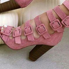 Shoespie Sweet Pink Buckled Chunky Heel Fashion Booties