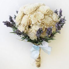 Balsa Wood Flowers with Lavender -- Eco Wedding Bouquet