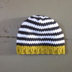 Knit Baby Boys Hat, cotton, goldenrod with charcoal and white stripes, Little Man Little Beanie by sweet baby dolly on Etsy. $14.00, via Etsy.