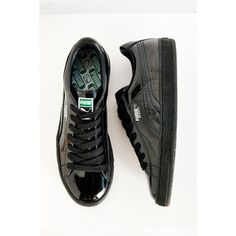 Puma Patent Sneaker ($70) ❤ liked on Polyvore featuring shoes, sneakers, black, traction shoes, polish shoes, patent sneakers, patent shoes and rubber sole shoes