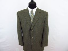 Jos A Bank Men's 42S Olive Camel Hair Sport Coat Jacket Blazer Windowpane  #JosABank #ThreeButton