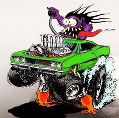 "Ed Roth's ""Rat Fink"" stuff rules! Rat Fink, Cartoon Rat, Cartoon Kunst, Monster Car, Monster Trucks, Car Drawings, Cartoon Drawings, Caricatures, Ed Roth Art"