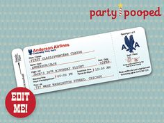 Printable Airplane Airline Birthday Party Baby Shower Ticket ...