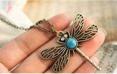 Min.order is $10 (mix order), European and American style, Retro Dragonfly Necklace+ Free Shipping $0.40
