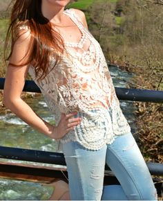All Over Sequin...: Crochet top look