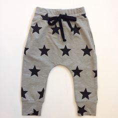 Gray Harem Pants with Black Stars