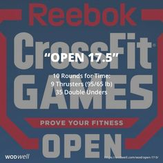 """""""Open 17.5"""" WOD - 10 Rounds for Time: 9 Thrusters (95/65 lb); 35 Double Unders"""