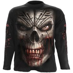 Gothic men's long-sleeve shirt with graphic all over print by Spiral Direct, featuring a skull with blood-dripping fangs on the front, and splatter on the sleeves.