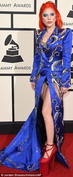 Hello Starman: Lady Gaga, who was performing a tribute to David Bowie during the evening, also paid homage to the late singer with her custom Marc Jacobs outfit