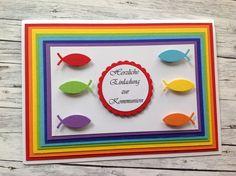 Einladungskarte Zur Kommunion (Rainbow). Regenbogen FarbenSchriftzug ErstkommunionRegenbögen