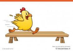 Bewegingskaarten kip voor kleuters 2, over de bank rennen , kleuteridee.nl , thema Lente, Movementcards for preschool,  free printable.
