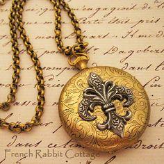 FLEUR de Lis LOCKET NECKLACE / French Inspired Jewelry    wish list
