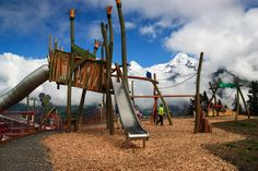 """Allmendhubel """"Flower Park"""" is a new playground in the alps near Mürren, with views of the Jungfrau, Eiger, and Mönch peaks across the valley. The playground itself is great and you could"""