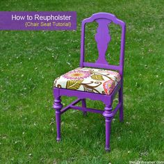 How to Reupholster a Chair Seat - http://theDIYdreamer.com