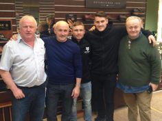 Pictured from left to right, Robin Stewart our managing director, Barry McGuigan, Carl Frampton, Shane McGuigan and John McKeown our sales manager.