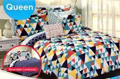 Queen Bed In A Bag 10pc Set Reversible comforter geometric shapes new in package #JustHome #Modern