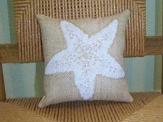 Starfish pillow Shell pillow Beach pillow by KelleysCollections