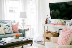 Wichita Falls fresh Coral, Mint, with gold pops family room designed by Jana Bek Design - follow us on Facebook at Jana Bek Design, on instagram @Jana Bek Design, janabek.com
