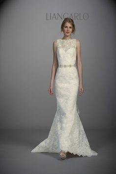 Liancarlo - Spring Style sleeveless corded Chantilly lace mermaid wedding dress with a bateau neckline and beaded belt, Liancarlo Wedding Dress Sketches, Wedding Dresses Photos, Used Wedding Dresses, Wedding Dress Styles, Bridesmaid Dresses, Couture Wedding Gowns, Bridal Gowns, Liancarlo Wedding Dresses, Luxe Wedding