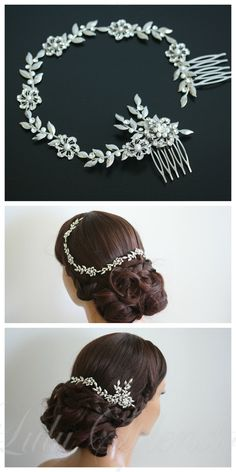 Wedding Hair Accessory Leaf Hair Vine Bridal Hair Piece Flower Halo Forehead Band SABINE HAIR VINE