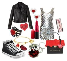 """""""goth valentines day"""" by pineapplefashion-ar ❤ liked on Polyvore featuring Paco Rabanne, Kate Spade, MAC Cosmetics, Converse, FOSSIL, goth, HappyValintinesDay and valintinesday"""