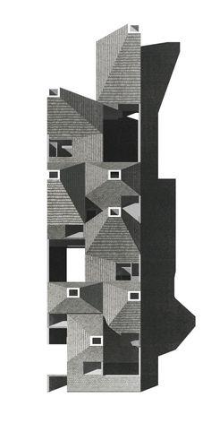 Schützen community housing tilted view is part of architecture Drawing City New York - Roof Architecture, Architecture Graphics, Architecture Drawings, Concept Architecture, Architecture Diagrams, Architecture Portfolio, Co Housing, Community Housing, Modelos 3d