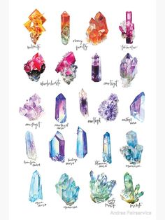 'Crystal Collection Poster by Andrea Fairservice - Collection of my favorite watercolor paintings and their names. Crystal Illustration, Crystal Drawing, Illustration Inspiration, Crystal Tattoo, Crystal Collection, Book Of Shadows, Resin Crafts, Crystals And Gemstones, Watercolor Paintings