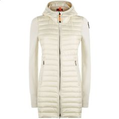 Parajumpers Anuri Quilted Front Long Knit Jacket (9.205 CZK) ❤ liked on Polyvore featuring outerwear, jackets, long lightweight jacket, white hooded jacket, lightweight jacket, thick jackets and long white jacket