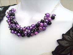 Purple and Black Beaded Necklace Purple Bridesmaid by KIMMSMITH, $24.00