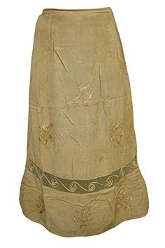 Womens Peasant Boho Maxi Skirt Embroidered Stonewashed Olive Green Long Skirt SM * Be sure to check out this awesome product.