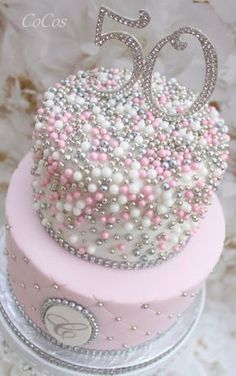 Pretty pink cake and cupcakes #cakedesigns