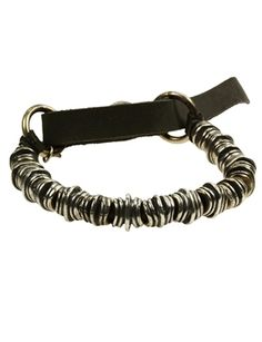 Goti - Goti Sterling Silver Textured Bead Leather Strap Bracelet