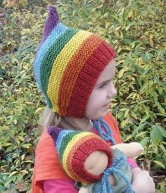 Rainbow Pixie Gnome Hat Set for Young Child and Doll--Size to 6. Adele  Pescod · Knitting patterns ... 7ebd0ae8d7b4