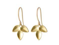 Me&Ro 18K Gold Triple Petal Earrings
