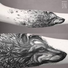 "But a ravens head : "" Sketch work/surrealist style floral wolf tattoo. Sick Tattoo, Raven Tattoo, Fox Tattoo, Wolf Tattoos, Animal Tattoos, Tatoos, Tattoo Arm, Piercings, Piercing Tattoo"