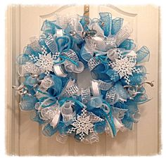 Snowflake Turquoise and Silver Deco Mesh Wreath/Christmas Deco Mesh Wreath/Snowflake Wreath/Turquoise and Silver Wreath/Christmas Wreath on Etsy, $69.95