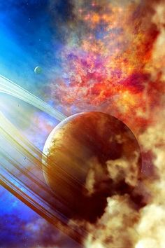 Beautiful outer space example of Saturn with Nebula & twinkling stars. Cosmos, Space Planets, Space And Astronomy, Deep Space, Space Space, Space Photos, Space Images, Galaxy Space, Galaxy Art