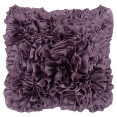 Showcasing a vibrant arrangement of plum-finished ruffles, this beautiful pillow adds blossoming focal point to your bed or favorite arm chair.