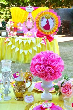"""Photo 1 of Beauty and the Beast / Birthday """"Belle Princess Party"""" 3rd Birthday Parties, Girl Birthday, Birthday Ideas, Girl Parties, Themed Parties, Mouse Parties, Beauty And The Beast Theme, Disney Princess Birthday, Party Centerpieces"""