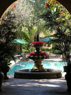Love the idea of plants in the fountain.