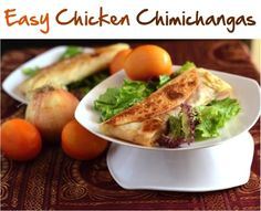 Easy Chicken Chimichangas....    10 store-bought flour tortillas  4 boneless, skinless chicken breasts, diced  1 large onion, diced  2 Tablespoons Mexican chili powder  2 Tablespoons tomato paste  4 yellow or red roma tomatoes, diced  1/2 cup chicken broth  1 Tablespoon paprika  1 Tablespoon salt  2 cups Monterrey Jack Cheese, shredded  1/2 cup black, pitted olives  sour cream  1/2 cup green onions, chopped  1 16 oz can re-fried beans