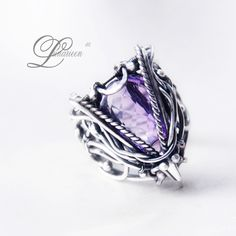 handmade ring technique: wire-wrapping materials: silver, amethyst Facebook page and more pictures Online shop