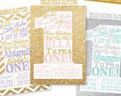 Pink and Gold First Birthday Invitation Girl by SprinkledDesign