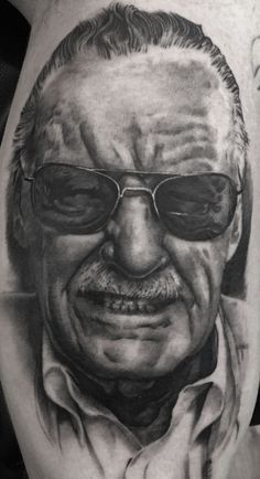 Stan Lee done by Schwarz.Black & Grey Tattoos,Photorealism. For more of his work please visit the facebook page of H.V.44 Tattoo Studio. Thank you! Stan Lee, is an American comic book writer, editor, actor, producer, publisher, television personality, and the former president and chairman of Marvel Comics. (Lee, Stan; Mair, George (2002). Excelsior!: The Amazing Life of Stan Lee) Book Writer, Photorealism, Stan Lee, American Comics, Black And Grey Tattoos, Tattoo Studio, Editor, Marvel Comics, Personality