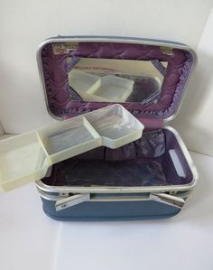 Vintage Blue Crown Train Case Tray Mirror - Cosmetics Artist Makeup Case Luggage #Crown