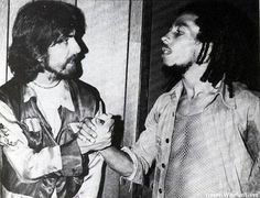 "backstage at the roxy, 1975.  photo by kim gottlieb-walker.  two gentle souls engage in a once in a lifetime meeting.  ""ras beatle!"" was marley's response when told that harrison was in attendance at the show and wanted to meet him"