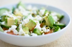 Enjoy this delicious HCG P3 approved avocado feta salad.  A delicious cool summer salad that won't trip up your diet.  Pair it with lime grilled chicken or shrimp for a balanced, protein rich P3 meal.  Enjoy!